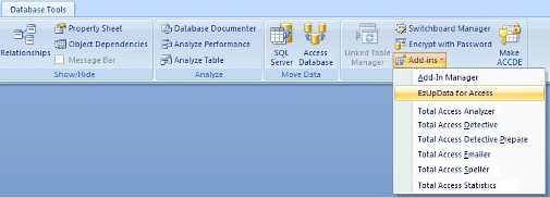 Launch EzUpData from the Microsoft Access add-in ribbon